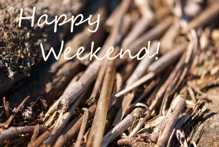 english text: Bamboo Or Wood As Background Or Backgrop Or Card With English Text Happy Weekend. Close Up Or Macro View. Stock Photo