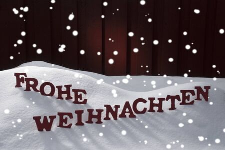 frohe: Red Letters Building German Word Frohe Weihnachten Means Merry Christmas.Decoration Card For Seasons Greetings. Snow And Snowy Scenery With Snowflakes. Wooden Background. Christmas Atmosphere