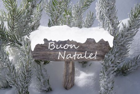 buon: Wooden Christmas Sign With Snow And Fir Tree Branch In The Snowy Forest. Italian Text Buon Natale Means Merry Christmas For Seasons Greetings. Christmas Atmosphere.