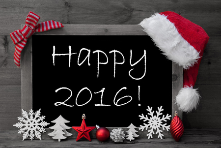 ball: Black And White Blackboard With Red Santa Hat And Christmas Decoration like Snowflake, Tree, Christmas Ball, Fir Cone, Star. English Text Happy 2016. Wooden Background