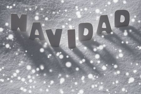 navidad navidad: White Wooden Letters Building Spanish Text Navidad Means  Christmas. Snow And Snowy Scenery With Snowfalkes. Christmas Atmosphere. Christmas Background Or Christmas Card For Seasons Greetings