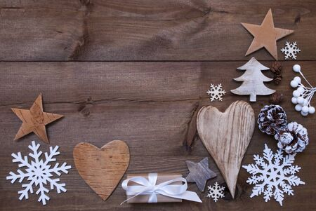 Wooden Background With Many Christmas Decoration.Christmas Gift, Christmas Present, Heart, Snowfalke, Fir Cone, Star, Christmas Tree. Copy Space, Free Text Or Your Text Here. Rustic Or Vintage Style Stock Photo