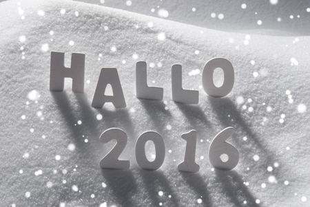 hallo: White Wooden Letters Building German Text Hallo 2016 Means Hello 2016. Snow And Snowy Scenery With Snowfalkes. Christmas Atmosphere. Christmas Background Or Christmas Card For Seasons Greetings