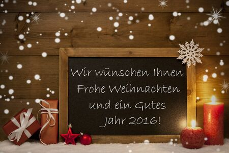 jahr: Festive Christmas Card With Chalkboard, Red Gifts, Balls, Snowflakes And Candles. German Text Wir Wuenschen Ihnen Frohe Weihnachten Und Ein Gutes Jahr 2016 Mean Merry Christmas And Happy New Year Stock Photo