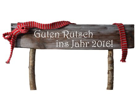 jahr: Brown Isolated Wooden Christmas Sign On White. Red Ribbon, German Text Guten Rutsch Ins Jahr 2016 Means Happy New Year 2016. Christmas Decoration Or Christmas Card. Rustic Or Vintage Syle. Stock Photo