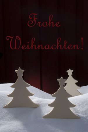 merry time: Three White Christmas Trees On Snow. White Snowy Scenery As Christmas Decoration. Christmas Time Or Advent. Red Wooden Vintage Retro Background. German Text Frohe Weihnachten Mean Merry Christmas