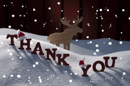 santa moose: Red Letters With Santa Hat On White Snow With Snowflakes As Christmas Card.  English Text Or Word Thank  You. Moose In Snowy Scenery And Atmosphere. Rustic Vintage Wooden Background