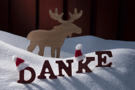 santa moose: Red Letters With Santa Hat On White Snow As Christmas Card.  German Text Or Word Danke Mean Thank  You. Moose In Snowy Scenery And Atmosphere. Rustic Vintage Wooden Background