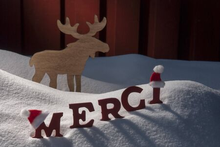 santa moose: Red Letters With Santa Hat On White Snow As Christmas Card.  French Text Or Word Merci Mean Thank  You. Moose In Snowy Scenery And Atmosphere. Rustic Vintage Wooden Background