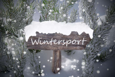 wintersport: Wooden Christmas Sign With Snow And Fir Tree Branch In The Snowy Forest. English Text Wintersport For Seasons Greetings Or Christmas Greetings. Christmas Atmosphere With Snowflakes