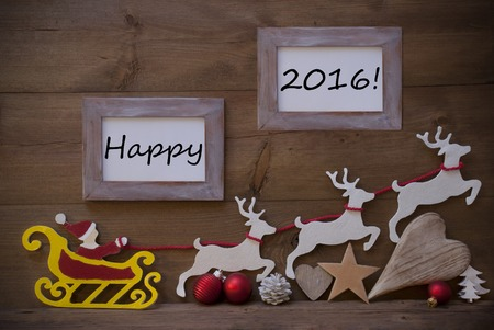 deer in heart: Christmas Card With Red Santa Claus, Yellow Sled And White Reindeer. Christmas Decoration Like Tree, Ball, Heart And Star. Shabby Chic Picture Frame With Happy 2016. Brown Vintage Wooden Background.