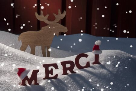 santa moose: Red Letters With Santa Hat On White Snow With Snowflakes As Christmas Card.  French Text Or Word Merci Mean Thank  You. Moose In Snowy Scenery And Atmosphere. Rustic Vintage Wooden Background