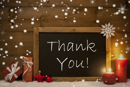 thank you cards: Festive Christmas Card With Chalkboard, Red Gifts Or Presents, Christmas Balls, Snowflakes And Candles. Christmas Decoration With Rustic, Vintage Brown Wooden Background. English Text Thank You