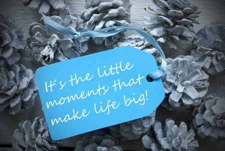 One Light Blue Label On Fir Cones And White Wooden Background. English Life Quote Its The Little Moments That Make Life Big Vintage Or Retro Style Used As Winter Or Christmas Background With Frame