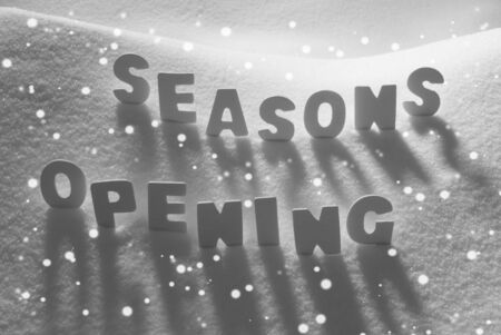 english text: White Letters Building English Text Seasons Opening On White Snow