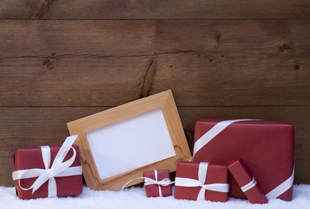 picture frame: Red Christmas Decoration On Snow