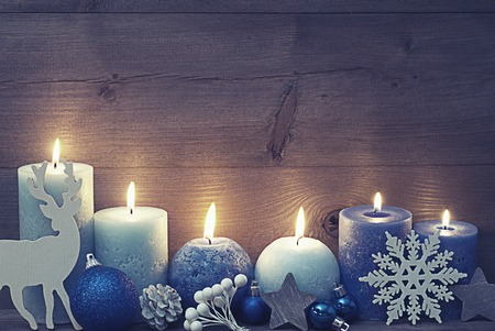 Vintage, Shabby Chic Chirstmas Decoration With Purple And Blue Candles