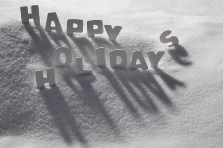 english text: White Letters Building English Text Happy Holidays On White Snow