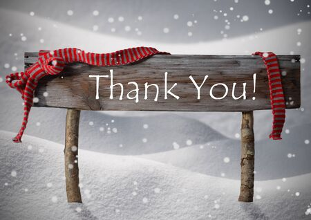 thanks: Brown Wooden Christmas Sign On White Snow Stock Photo