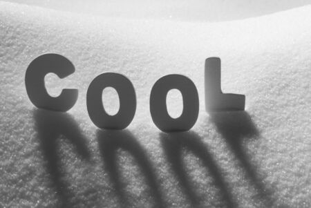 text cool: White Letters Building English Text Cool On White Snow. Snowy Landscape Or Scenery. Christmas Card For Seasons Greetings Or Usable As Background.