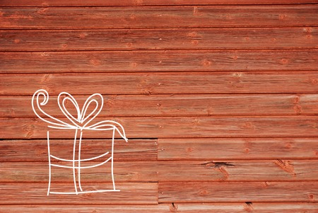 give away: Illustration, Drawing Or Painting Of One Gift Or Present. Card For Birthday, Valentines Day, Mothers Day Or Wedding. Red Wooden Background With Copy Space For Advertisement Stock Photo