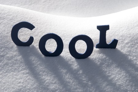 text cool: Blue Letters Building English Text Cool On White Snow. Snowy Landscape Or Scenery. Christmas Card For Seasons Greetings Or Usable As Background.
