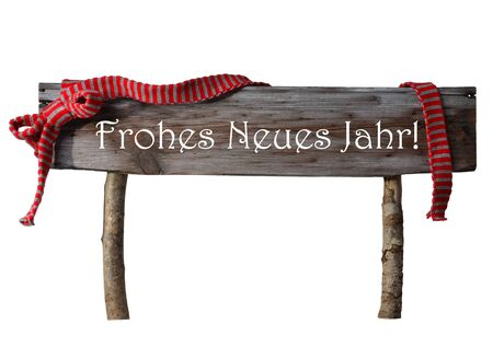 jahr: Brown Isolated Wooden Christmas Sign On White. Red Ribbon, German Text Frohes Neues Jahr Means Happy New Year. Christmas Decoration Or Christmas Card. Rustic Or Vintage Syle. Stock Photo