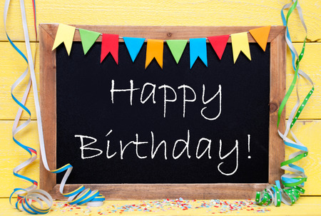 coloured background: Chalkboard With English Text Happy Birthday.