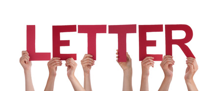 alphabetic character: Many Caucasian People And Hands Holding Red Straight Letters Or Characters Building The Isolated English Word Letter On White Background