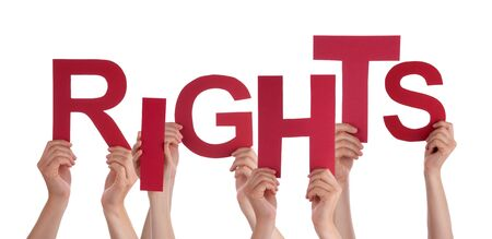 bill of rights: Many Caucasian People And Hands Holding Red Letters Or Characters Building The Isolated English Word Rights On White Background