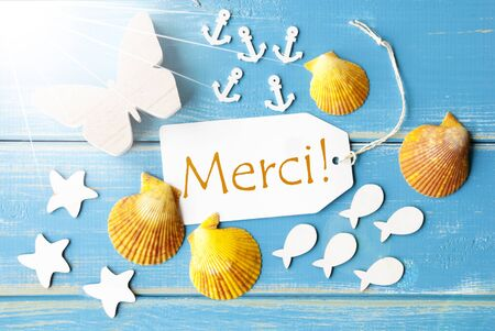 french text: Flat Lay View Of Label With French Text Merci Means Thank You. Sunny Summer Greeting Card. Butterfly, Shells And Fishes On Blue Wooden Background
