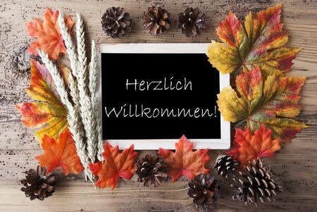 willkommen: Blackboard With Autumn Or Fall Decoration. Greeting Card For Seasons Greetings. Colorful Leaves, Fir Cone And Barley On Aged Wooden Background. German Text Herzlich Willkommen Means Welcome