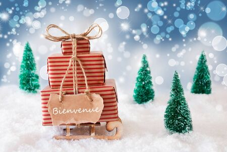 french text: Sleigh Or Sled With Christmas Gifts Or Presents. Snowy Scenery With Snow And Trees. Blue Sparkling Background With Bokeh Effect. Label With French Text Bienvenue Means Welcome