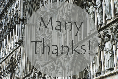 many thanks: Church Of Trondheim In Norway. Macro Or Close Up Of Sculptures Or Statue. Religious Greeting Card. English Text Many Thanks