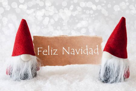 felix: Christmas Greeting Card With Two Red Gnomes. Sparkling Bokeh Background With Snow. Spanish Text Felix Navidad Means Merry Christmas Stock Photo
