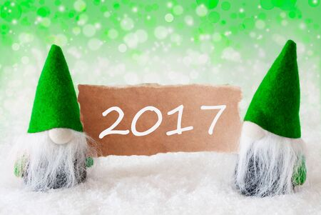 gnomos: Christmas Greeting Card With Two Green Gnomes. Sparkling Bokeh And Natural Background With Snow. Text 2017
