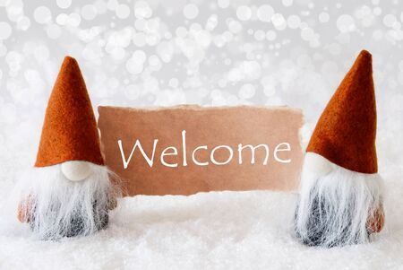 english text: Christmas Greeting Card With Two Bronze Gnomes. Sparkling Bokeh Background With Snow. English Text Welcome