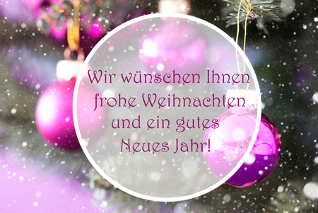 Christmas Tree With Rose Quartz Balls. Close Up Or Macro View. Snowflakes For Winter Atmosphere. German Text Frohe Weihnachten Und Ein Gutes Neues Jahr Means Merry Christmas And Happy New Year Stock Photo