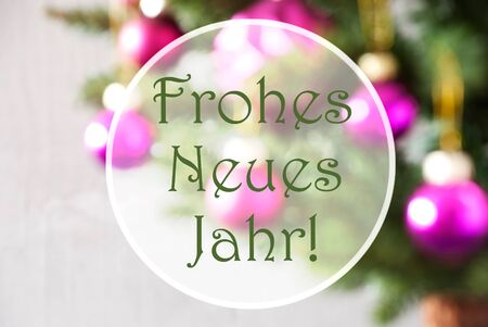 German Text Frohes Neues Jahr Means Happy New Year. Christmas Tree With Rose Quartz Balls. Close Up Or Macro View. Christmas Card For Seasons Greetings.