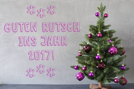 jahr: Christmas Tree With Purple Christmas Tree Balls. Card For Seasons Greetings. Gray Cement Or Concrete Wall For Urban, Modern Industrial Styl. German Text Guten Rutsch Ins Jahr 2017 Means Happy New Year Stock Photo
