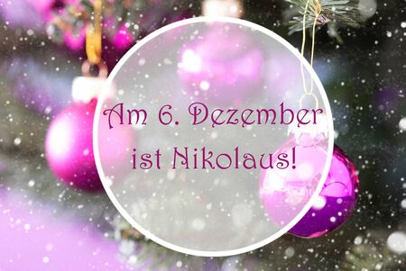 Christmas Tree With Rose Quartz Balls. Close Up Or Macro View. Christmas Card For Seasons Greetings. Snowflakes For Winter Atmosphere. German Text Am 6. Dezember Ist Nikolaus Means Nicholas Day Stock Photo