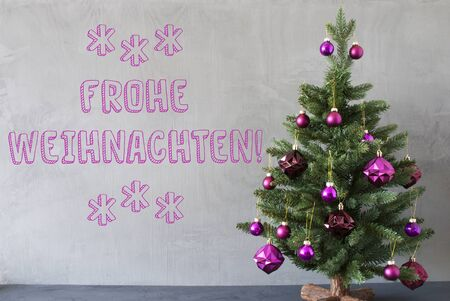 weihnachten: Christmas Tree With Purple Christmas Tree Balls. Card For Seasons Greetings. Gray Cement Or Concrete Wall For Urban, Modern Industrial Styl. German Text Frohe Weihnachten Means Merry Christmas