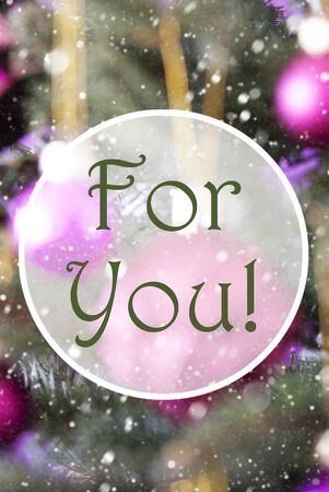 Vertical Christmas Tree With Rose Quartz Balls. Close Up Or Macro View. Christmas Card For Seasons Greetings. Snowflakes For Winter Atmosphere. English Text For You Stock Photo