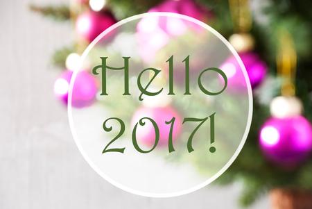 Christmas Tree With Rose Quartz Balls. Close Up Or Macro View. Christmas Card For Seasons Greetings. English Text Hello 2017
