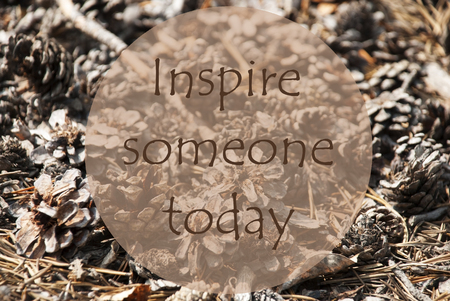 someone: Texture Of Fir Or Pine Cone. Autumn Season Greeting Card. English Quote Inspire Someone Today