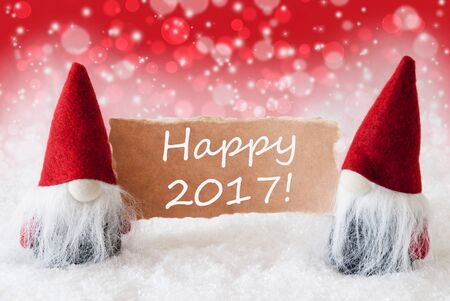 gnomos: Christmas Greeting Card With Two Red Gnomes. Sparkling Bokeh And Christmassy Background With Snow. English Text Happy 2017