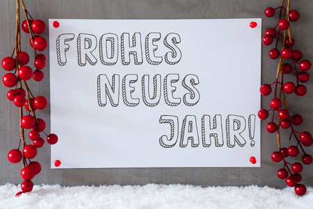 jahr: Label With German Text Frohes Neues Jahr Means Happy New Year. Red Christmas Decoration On Snow. Urban And Modern Cement Wall As Background Stock Photo