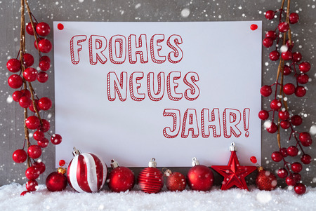 jahr: Label With German Text Frohes Neues Jahr Means Happy New Year. Red Christmas Decoration Like Balls On Snow. Urban And Modern Cement Wall As Background With Snowflakes.