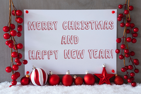 like english: Label With English Text Merry Christmas And Happy New Year. Red Christmas Decoration Like Balls On Snow. Urban And Modern Cement Wall As Background