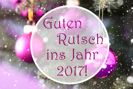 ins: Christmas Tree With Rose Quartz Balls. Close Up Or Macro View. Christmas Card For Seasons Greetings. Snowflakes For Winter Atmosphere. German Text Guten Rutsch Ins Jahr 2017 Means New Year Stock Photo